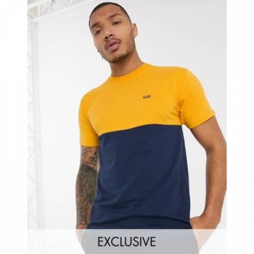 バンズ Tシャツ メンズファッション トップス カットソー 【 VANS COLOURBLOCK TSHIRT IN NAVY YELLOW EXCLUSIVE AT ASOS 】