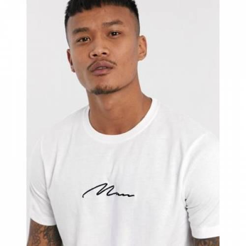 Tシャツ 白 ホワイト メンズファッション トップス カットソー 【 WHITE BOOHOOMAN MAN SIGNATURE EMBROIDERED LONGLINE TSHIRT IN 】