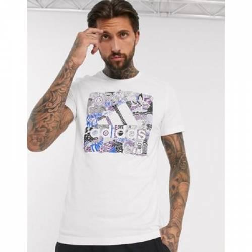 グラフィック ロゴ Tシャツ 白 ホワイト メンズファッション トップス カットソー 【 WHITE ADIDAS GRAPHIC LOGO TSHIRT IN 】