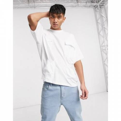 Tシャツ 白 ホワイト メンズファッション トップス カットソー 【 WHITE ASOS DESIGN OVERSIZED TSHIRT WITH UTILITY POCKETS AND TAPE IN 】