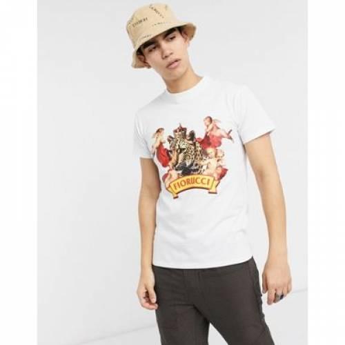 【スーパーセール中! 6/11深夜2時迄】Tシャツ 白 ホワイト メンズファッション トップス カットソー 【 WHITE FIORUCCI TSHIRT IN WITH CHEETAH PRINT 】