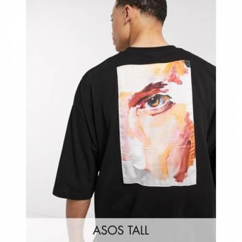 Tシャツ ナイロン メンズファッション トップス カットソー 【 ASOS DESIGN TALL OVERSIZED TSHIRT WITH ARTISTIC LOOK NYLON BACK PANEL 】