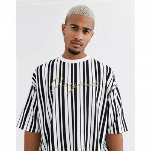 ストライプ Tシャツ メンズファッション トップス カットソー 【 STRIPE ASOS DESIGN ORGANIC COTTON OVERSIZED VERTICAL TSHIRT WITH SMALL CHEST EMBROIDERY 】