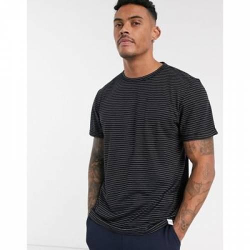 ストライプ Tシャツ 黒 ブラック PULL&BEAR メンズファッション トップス カットソー 【 STRIPE BLACK TSHIRT IN 】