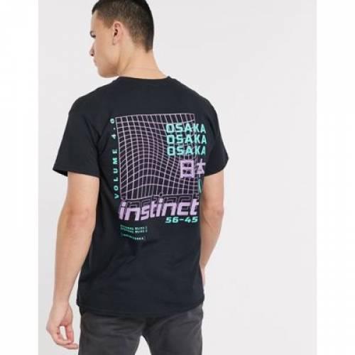 インスティンクト Tシャツ 黒 ブラック メンズファッション トップス カットソー 【 BLACK NEW LOOK INSTINCT FRONT AND BACK OVERSIZED PRINT TSHIRT IN 】