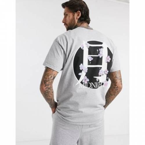 Tシャツ GRAY灰色 グレイ メンズファッション トップス カットソー 【 GREY BOOHOOMAN MIDNIGHT BLOSSOM FRONT AND BACK OVERSIZED PRINT TSHIRT IN 】