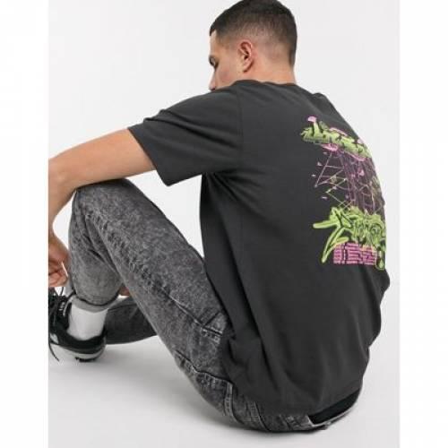 Tシャツ 黒 ブラック メンズファッション トップス カットソー 【 BLACK WEEKDAY TOMMIE DEMETRIC TSHIRT IN 】