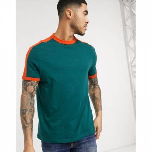 Tシャツ メンズファッション トップス カットソー 【 ASOS DESIGN ORGANIC TSHIRT WITH CONTRAST SHOULDER PANEL IN TEAL 】