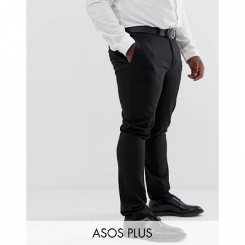黒 ブラック メンズファッション ズボン パンツ 【 BLACK ASOS DESIGN PLUS SUPER SKINNY SMART TROUSERS IN 】