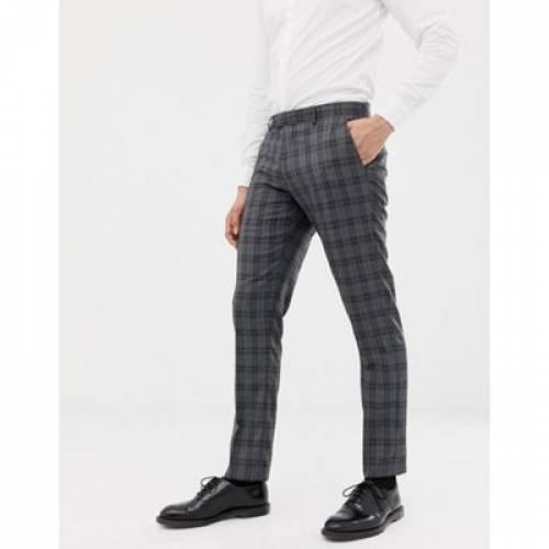 スリム GRAY灰色 グレイ メンズファッション ズボン パンツ 【 SLIM GREY FARAH FIT CHECK SUIT TROUSERS IN 】