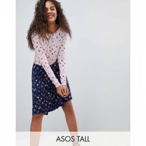 ドレス レディースファッション ワンピース 【 ASOS DESIGN TALL MIXED PRINT TEA DRESS WITH V BACK 】
