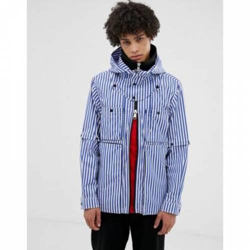 ウィンドブレーカー 青 ブルー ストライプ メンズファッション コート ジャケット 【 BLUE STRIPE LYPH WINDBREAKER JACKET WITH HOOD IN 】