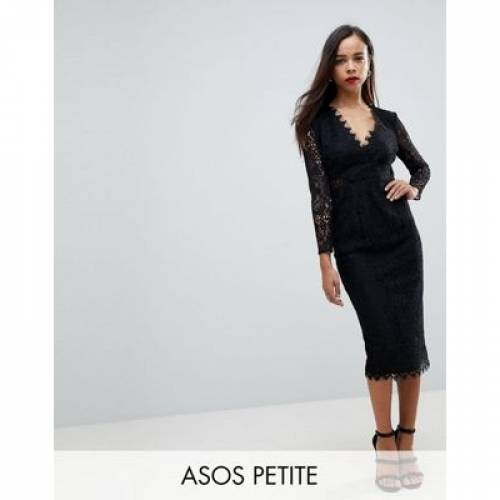 スリーブ ドレス レディースファッション ワンピース 【 SLEEVE ASOS PETITE LONG LACE MIDI PENCIL DRESS 】