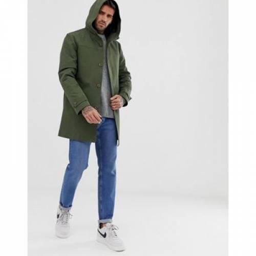 緑 グリーン メンズファッション コート ジャケット 【 GREEN ASOS DESIGN HOODED TRENCH COAT WITH SHOWER RESISTANCE IN 】