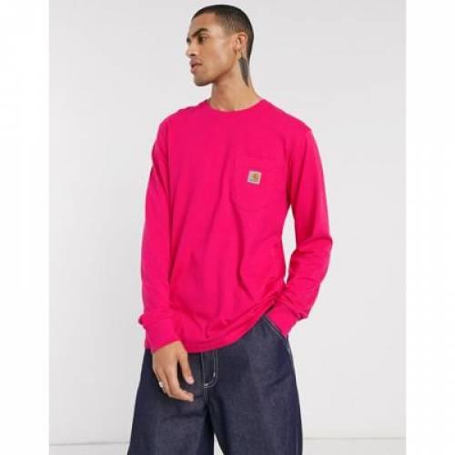 スリーブ Tシャツ ピンク メンズファッション トップス カットソー 【 SLEEVE PINK CARHARTT WIP LONG POCKET TSHIRT IN RUBY 】