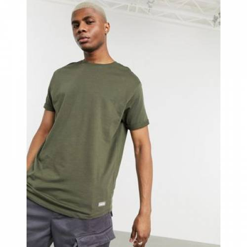 Tシャツ カーキ メンズファッション トップス カットソー 【 BERSHKA JOIN LIFE LONGLINE TSHIRT IN KHAKI 】
