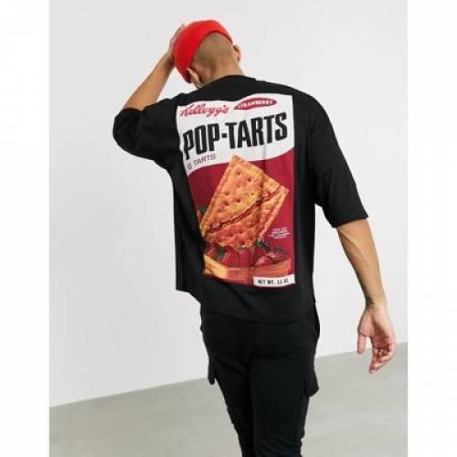 Tシャツ KELLOGG'S メンズファッション トップス カットソー 【 ASOS DESIGN OVERSIZED TSHIRT WITH LARGE PHOTOGRAPHIC POPTARTS BACK PRINT 】