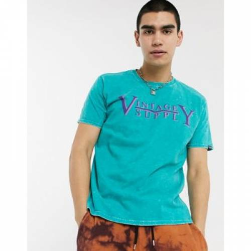 ビンテージ ヴィンテージ サプライ ロゴ Tシャツ 緑 グリーン メンズファッション トップス カットソー 【 VINTAGE SUPPLY GREEN LOGO TSHIRT IN 】