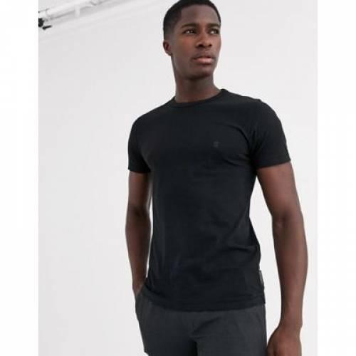 Tシャツ 黒 ブラック メンズファッション トップス カットソー 【 BLACK FRENCH CONNECTION ESSENTIALS TSHIRT IN 】