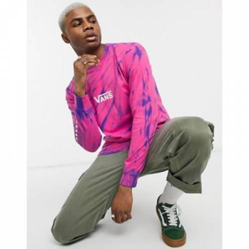 バンズ スリーブ Tシャツ ピンク メンズファッション トップス カットソー 【 VANS SLEEVE PINK TIE DYE CHECKER LONG TSHIRT IN 】