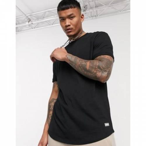 Tシャツ 黒 ブラック メンズファッション トップス カットソー 【 BLACK BERSHKA JOIN LIFE LONG FIT TSHIRT IN 】