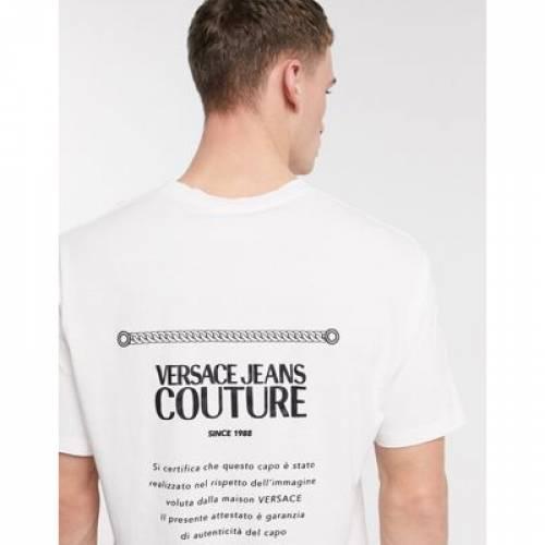 【スーパーセール中! 6/11深夜2時迄】ロゴ Tシャツ 白 ホワイト メンズファッション トップス カットソー 【 WHITE VERSACE JEANS COUTURE TEXT LOGO BACK PRINT TSHIRT IN 】