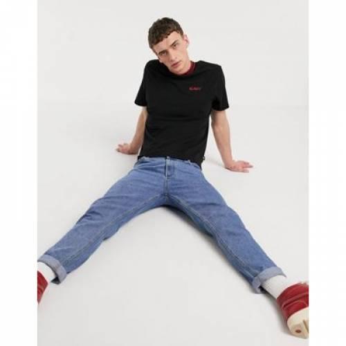 Tシャツ ロゴ 黒 ブラック メンズファッション トップス カットソー 【 BLACK KICKERS RIB NECK TSHIRT WITH SMALL LOGO IN 】