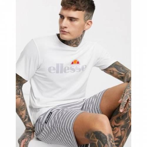 Tシャツ ロゴ 白 ホワイト メンズファッション トップス カットソー 【 WHITE ELLESSE GINITI 2 TSHIRT WITH REFLECTIVE LOGO IN 】