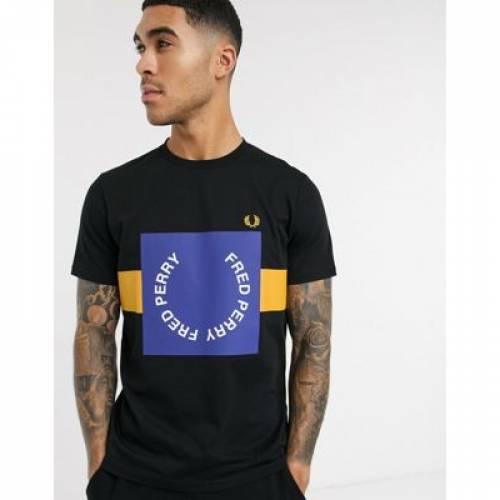 グラフィック Tシャツ 黒 ブラック メンズファッション トップス カットソー 【 BLACK FRED PERRY BOLD GRAPHIC TSHIRT IN 】