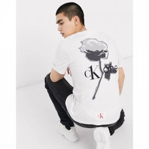 ローズ Tシャツ 白 ホワイト メンズファッション トップス カットソー 【 ROSE WHITE CALVIN KLEIN JEANS CK1 CAPSULE BACK PRINT TSHIRT IN 】