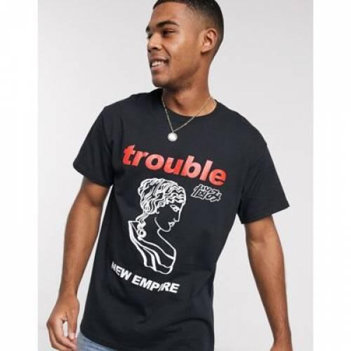 Tシャツ 黒 ブラック メンズファッション トップス カットソー 【 BLACK NEW LOOK OVERSIZED TROUBLE PRINT TSHIRT IN 】