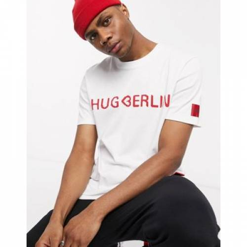 ロゴ Tシャツ 白 ホワイト メンズファッション トップス カットソー 【 WHITE HUGO DROSAL BERLIN HEART LOGO TSHIRT IN 】