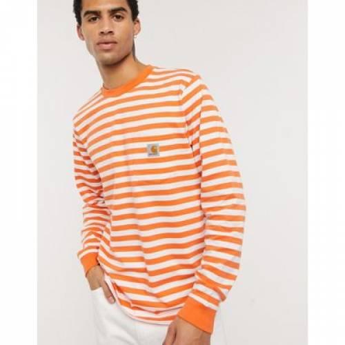 スリーブ Tシャツ 橙 オレンジ ストライプ メンズファッション トップス カットソー 【 SLEEVE ORANGE STRIPE CARHARTT WIP LONG SCOTTY POCKET TSHIRT IN 】