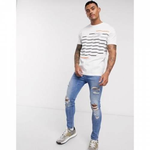 ジグ Tシャツ 白 ホワイト メンズファッション トップス カットソー 【 ZIG WHITE BOSS ATHLEISURE ZAG PRINT TSHIRT IN 】