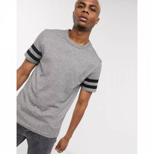 Tシャツ スリーブ ストライプ 灰色 グレ ジャージ メンズファッション トップス カットソー 【 SLEEVE STRIPE ASOS DESIGN TSHIRT WITH CONTRAST IN GREY HEAVYWEIGHT TWISTED JERSEY 】