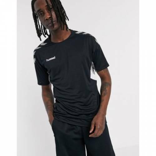 ジャージ 黒 ブラック メンズファッション トップス Tシャツ カットソー 【 BLACK HUMMEL MOVE JERSEY T SHIRT IN 】
