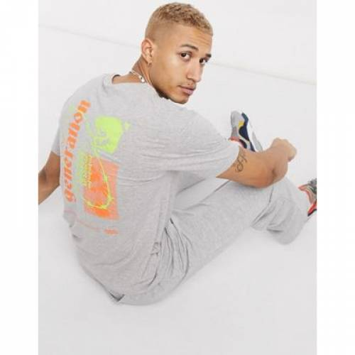 Tシャツ GRAY灰色 グレイ & メンズファッション トップス カットソー 【 GREY JACK JONES ORIGINALS BOXY TSHIRT WITH NEON BACK PRINT IN 】