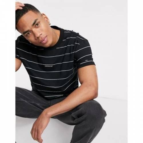 Tシャツ 黒 ブラック メンズファッション トップス カットソー 【 BLACK GOOD FOR NOTHING OVERSIZED STRIPED TSHIRT IN 】