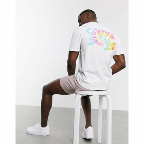 ロゴ Tシャツ 白 ホワイト & メンズファッション トップス カットソー 【 WHITE ONLY SONS BACK PRINT TIEDYE LOGO TSHIRT IN 】