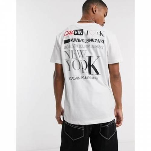 ロゴ Tシャツ 白 ホワイト メンズファッション トップス カットソー 【 WHITE CALVIN KLEIN JEANS MULTI LOGO BACK PRINT TSHIRT IN 】