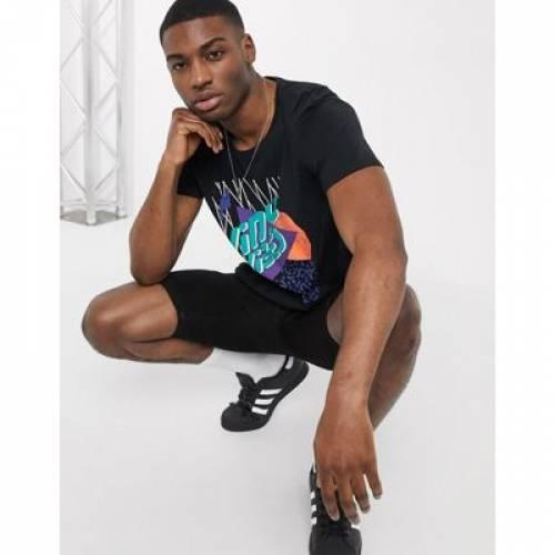 Tシャツ ビニール バイブ 黒 ブラック メンズファッション トップス カットソー 【 BLACK ESPRIT TSHIRT WITH VINYL VIBE PRINT IN 】