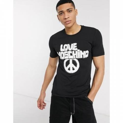 【スーパーセール中! 6/11深夜2時迄】ロゴ Tシャツ 黒 ブラック メンズファッション トップス カットソー 【 BLACK LOVE MOSCHINO LOGO TSHIRT IN 】