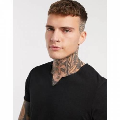 Tシャツ 黒 ブラック メンズファッション トップス カットソー 【 BLACK ASOS DESIGN TSHIRT WITH NOTCH NECK IN 】