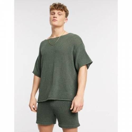 Tシャツ カーキ メンズファッション トップス カットソー 【 ASOS DESIGN KNITTED OVERSIZED COORD TSHIRT IN KHAKI 】
