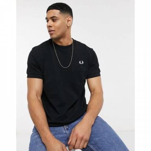 Tシャツ 黒 ブラック メンズファッション トップス カットソー 【 BLACK FRED PERRY POCKET DETAIL PIQUE TSHIRT IN 】