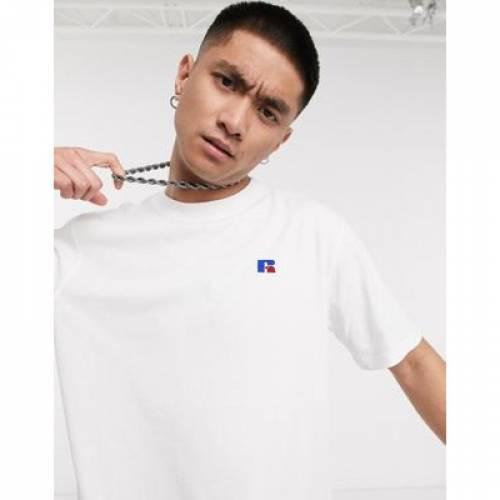 ラッセル Tシャツ ロゴ 白 ホワイト メンズファッション トップス カットソー 【 WHITE RUSSELL ATHLETIC BASELINER TSHIRT WITH CHEST LOGO IN 】