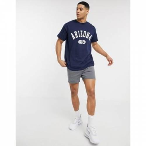 アリゾナ Tシャツ 紺 ネイビー メンズファッション トップス カットソー 【 NAVY NEW LOOK OVERSIZED ARIZONA TSHIRT IN 】