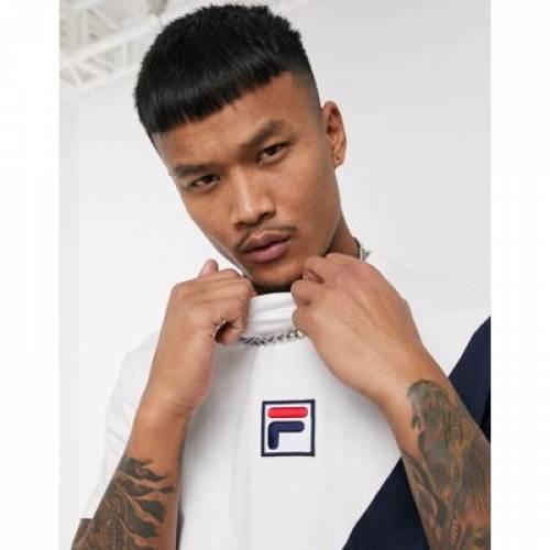 フィラ Tシャツ メンズファッション トップス カットソー 【 FILA PLR TSHIRT WITH PANEL DETAIL IN WHITE NAVY 】