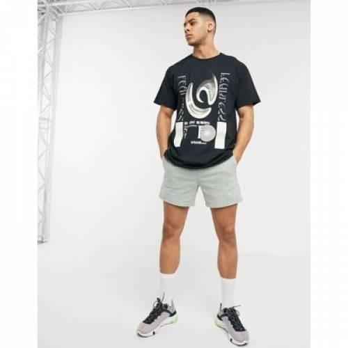 Tシャツ 黒 ブラック メンズファッション トップス カットソー 【 BLACK NEW LOOK FEARLESS PRINT TSHIRT IN 】