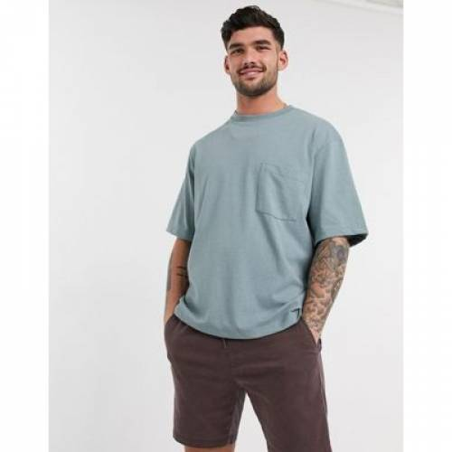Tシャツ 青 ブルー メンズファッション トップス カットソー 【 BLUE TOPMAN ORGANIC BOXY TSHIRT IN 】